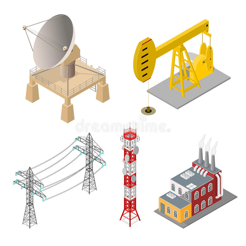 Industrial Objects Set Isometric View Vector Stock Vector - isometric view
