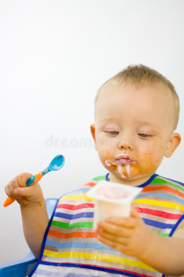 Summer Infant Feeding Chair Infant Eating With Food Round His Face Stock Image Image