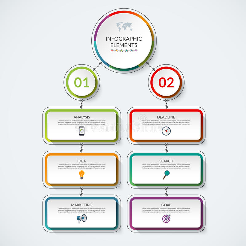 Infographic Flow Chart Template With 2 Option Circles And 6 Tabs - flow chart template