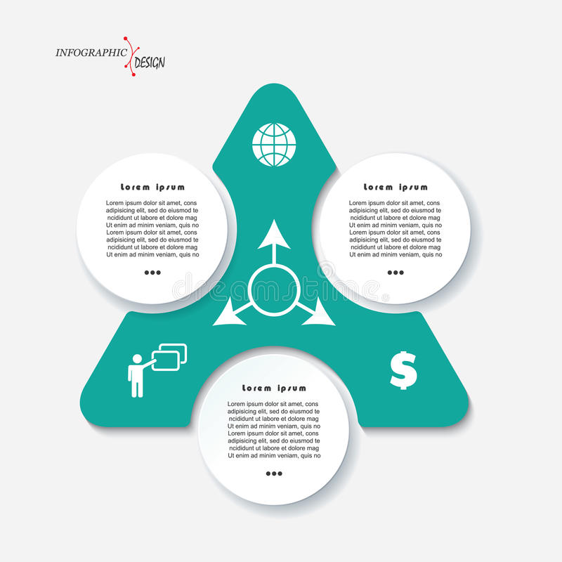 Infographic Template Design With Triangle And 3 Segments Stock