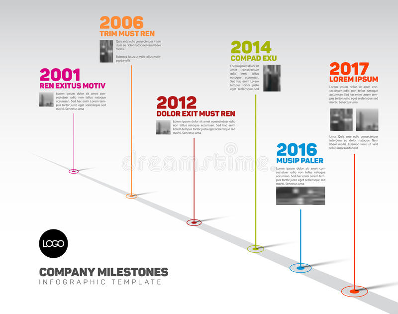 Infographic Timeline Template With Pointers And Photos Stock Vector