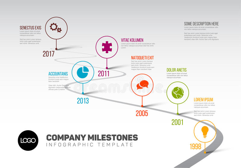 Infographic Timeline Template With Pointers Stock Vector - timeline template
