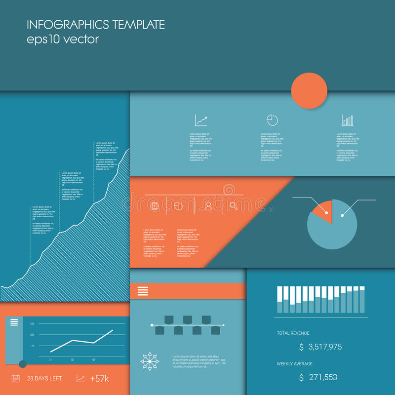 Infographics Template With Business Graphs And Charts, Other - Presentation Project