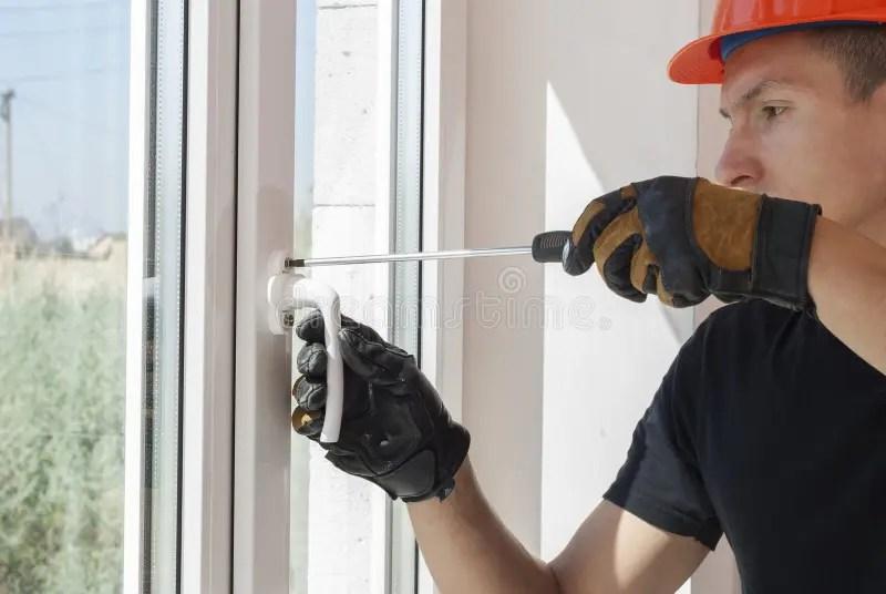 Installation And Repair Of Plastic Windows Stock Image - Image of - windows repair install