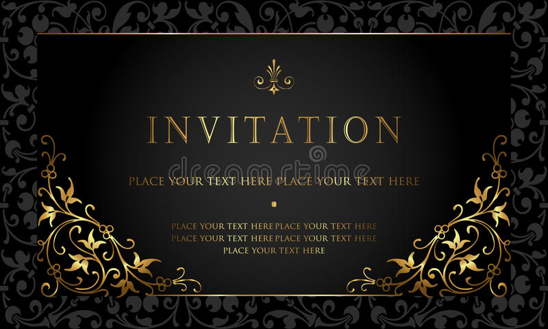 Invitation Card Design - Luxury Black And Gold Vintage Style Stock