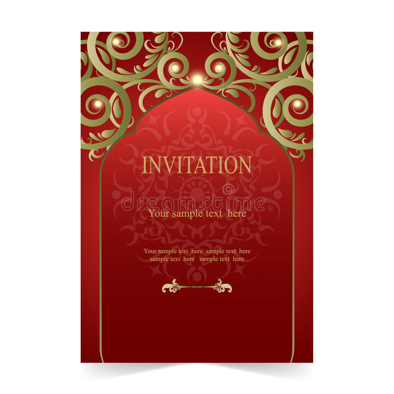 Invitation Card, Wedding Card Red Background Stock Vector - download invitation card