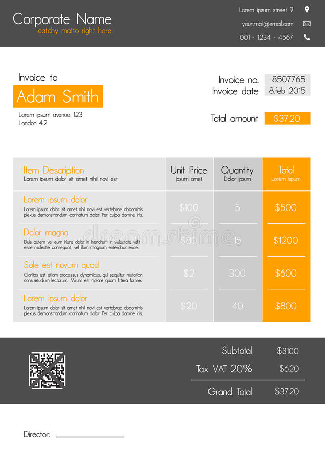 Invoice Template - Clean Modern Style Of Orange And Grey Stock - invoice style