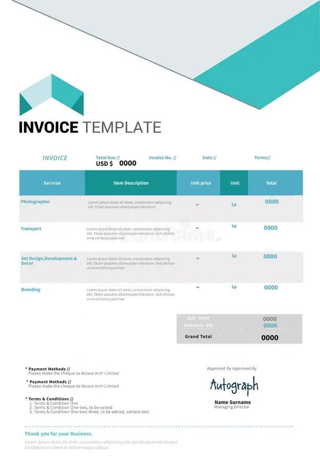 Invoice template design stock vector Illustration of design - 65456065