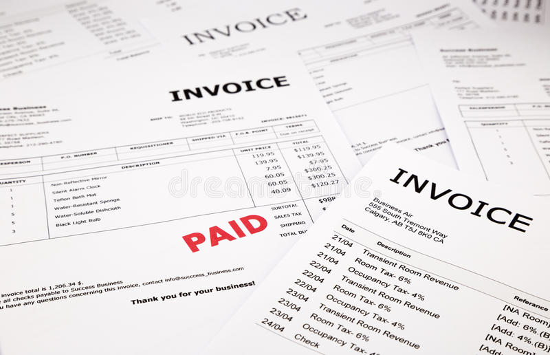 Invoices And Bills With Paid Stamp Stock Image - Image of expense - paid invoices