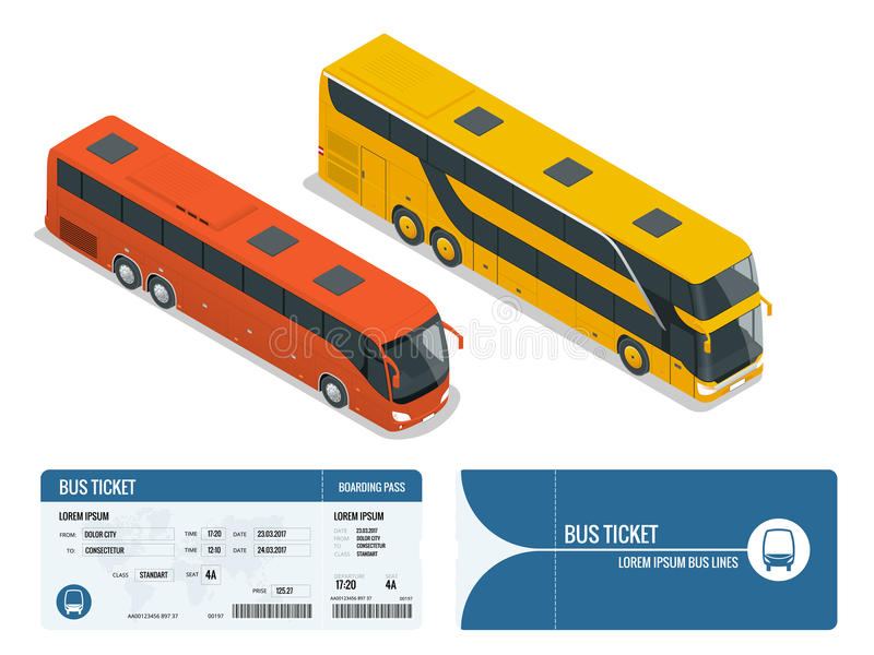 Isometric Realistic Bus And Boarding Pass Ticket Template Design - bus pass template