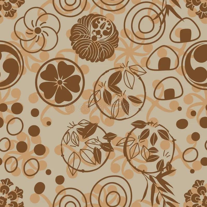 Japanese Circle Circle Mon Onigiri Style Seamless Pattern Stock - family mon