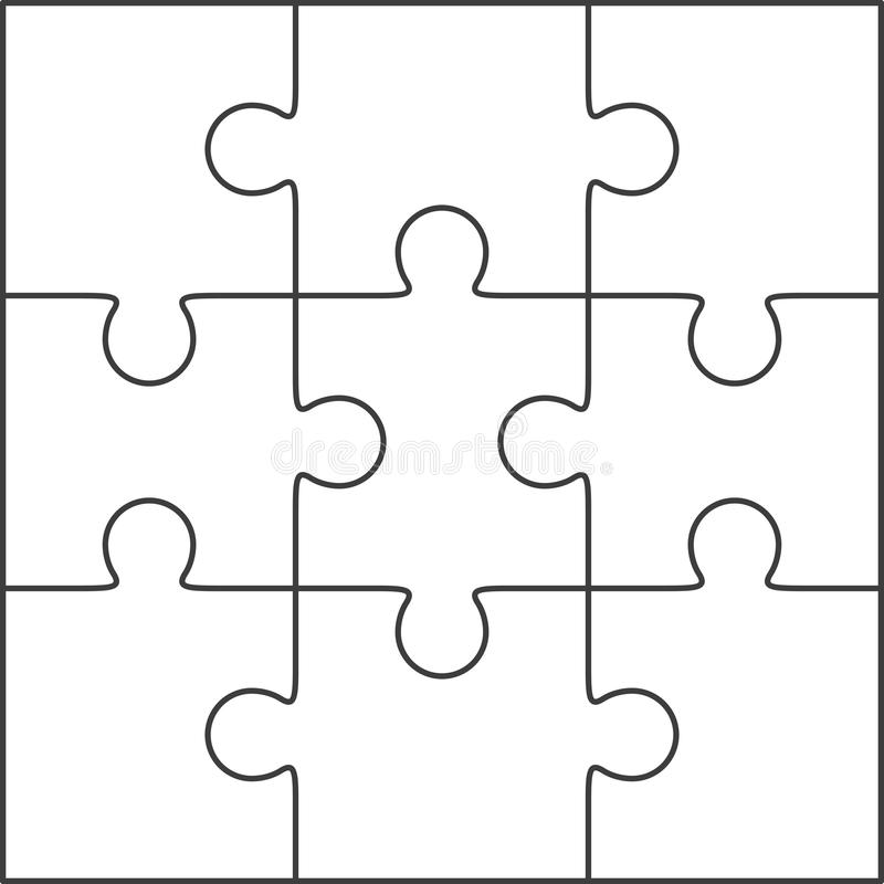 Jigsaw Puzzle Blank Template 3x3 Stock Illustration - Illustration
