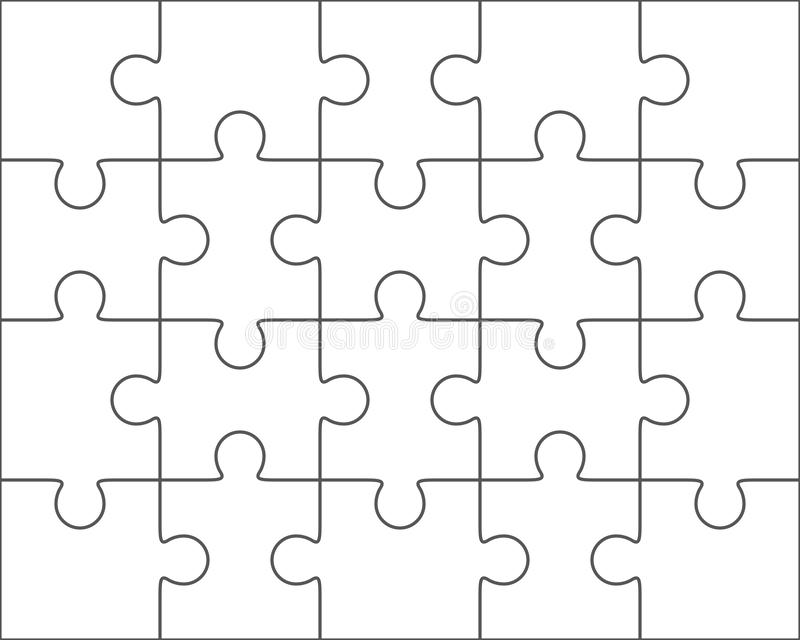 Jigsaw Puzzle Blank Template 4x5, Twenty Pieces Stock Illustration