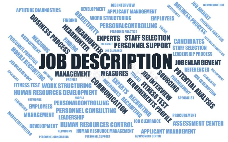 Job Description - Word Cloud / Wordcloud With Terms About Recruiting - Stock Job Description