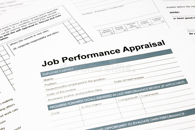 Job Performance Appraisal Form For Business Stock Image - Image of