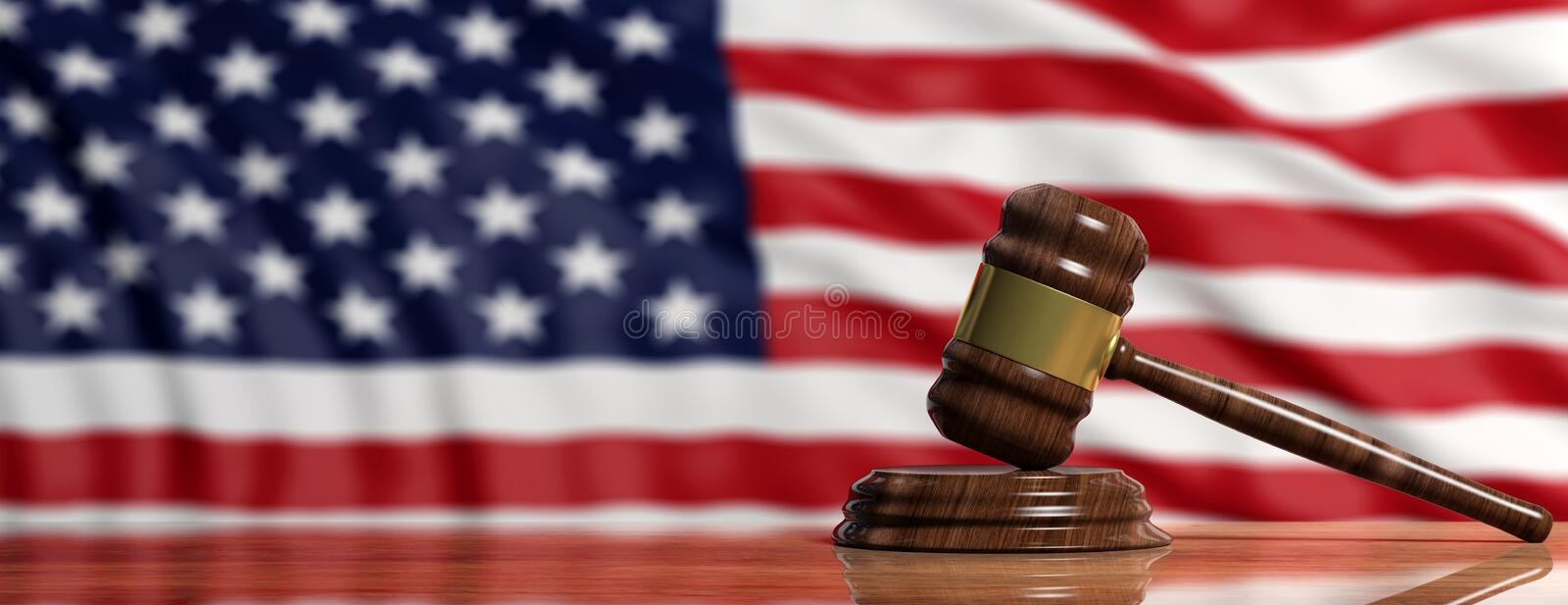 Judge Or Auction Gavel On US America Flag Background 3d - America Flag Background