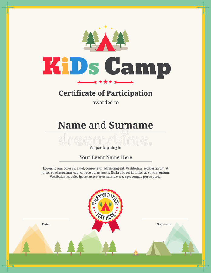 Kids Certificate Template In Vector For Camping Participation Stock - certificate of participation format