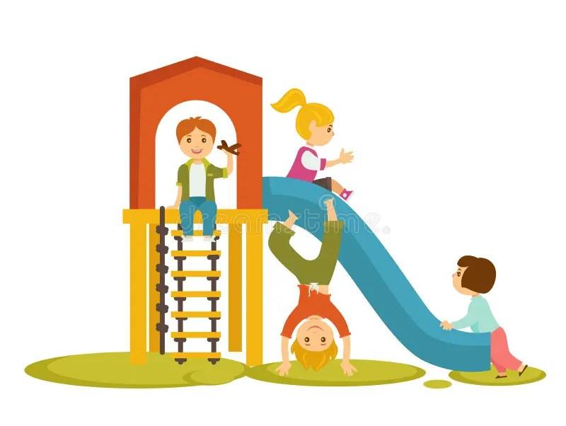 Kids Children Playing On Playground Vector Cartoon Stock Vector - cartoon children play