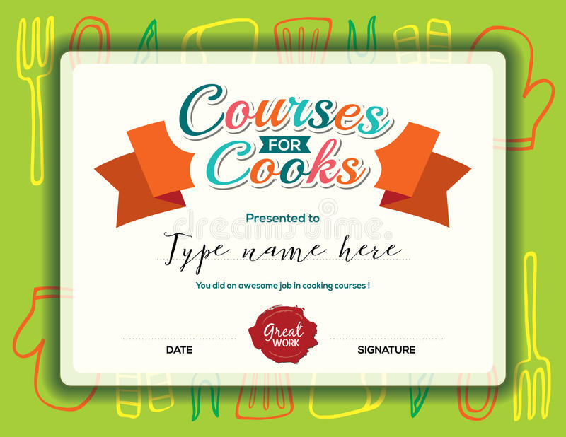 Kids Cooking Courses Certificate Template Stock Vector - certificate template for kids