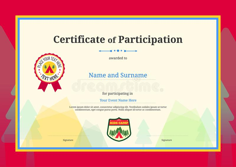 Kids Diploma Or Certificate Of Participation Template With Color - certificate of participation template