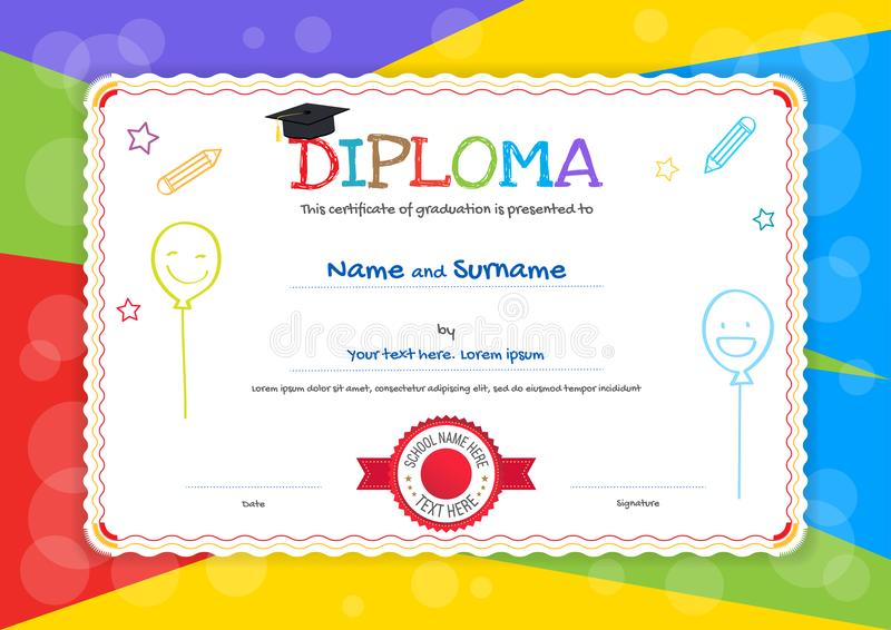 Kids Diploma Or Certificate Template With Hand Drawing Cartoon S - certificate template for kids