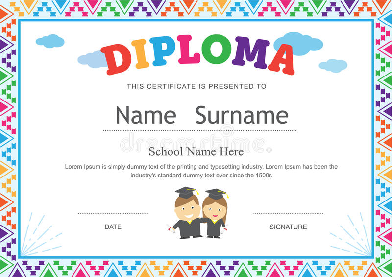Kids Diploma Preschool Certificate Elementary School Template Ba