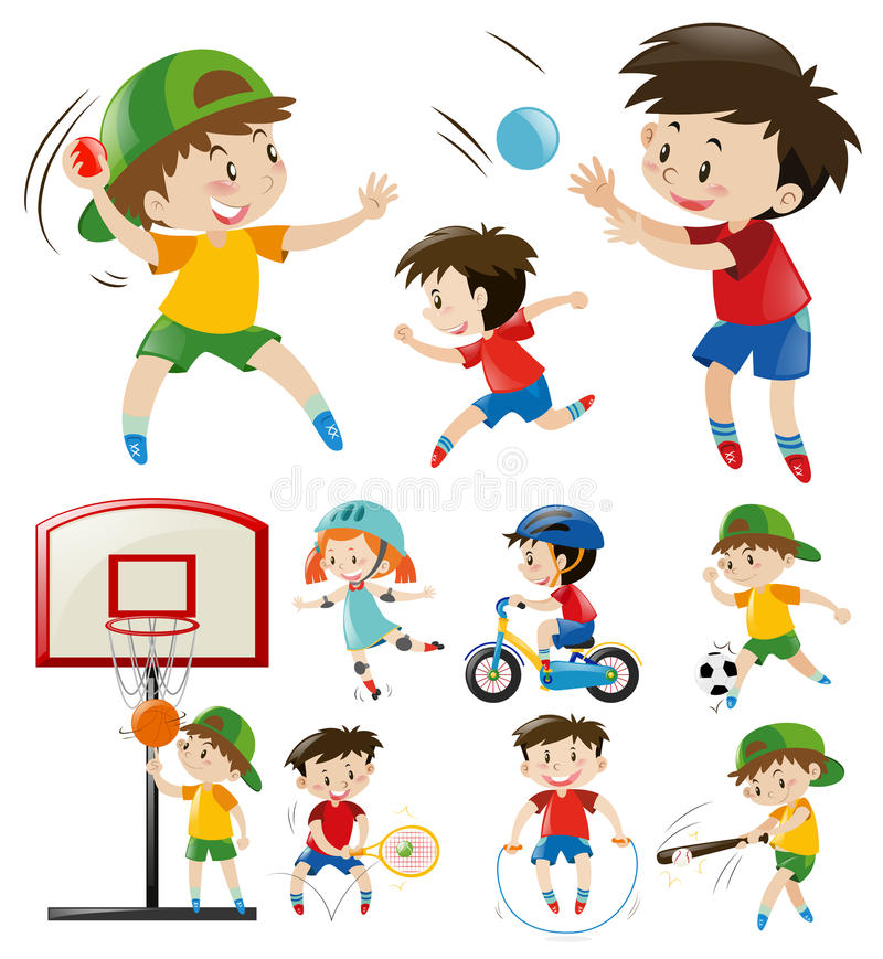 Kids Doing Different Types Of Sports Stock Vector - Illustration of