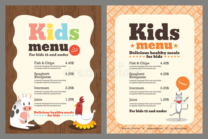 Kids menu vector template stock vector Illustration of place - 57477781 - kids menu templates
