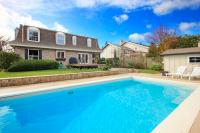 Large Backyard With Flowerbed And Swimming Pool Stock ...