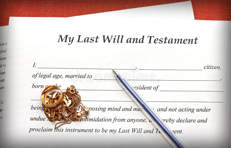Last Will And Testament Form With Gold Jewelry On Red Background - last will and testament form