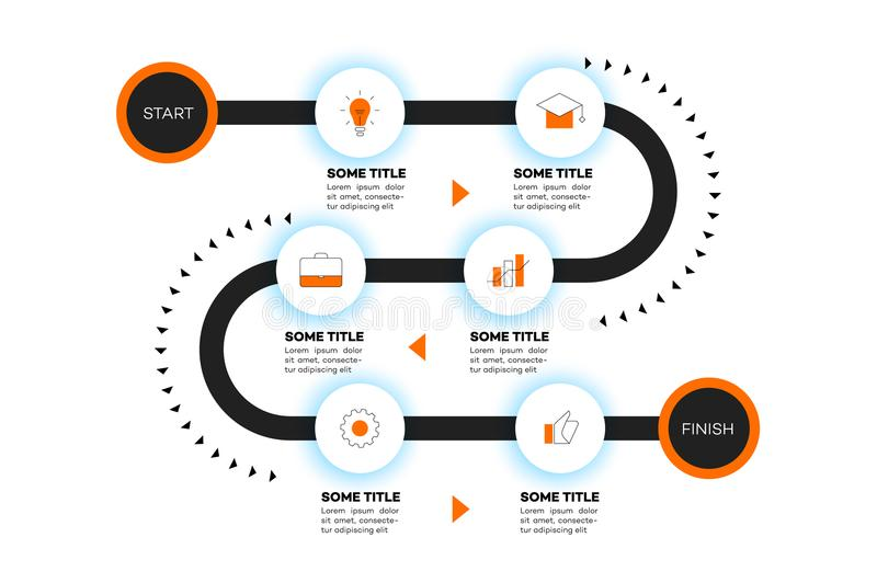 Layered Infographic Timeline Vector Roadmap, Template For Modern