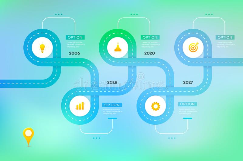 Layered Infographic Timeline Vector Roadmap, Template For Modern - roadmap template