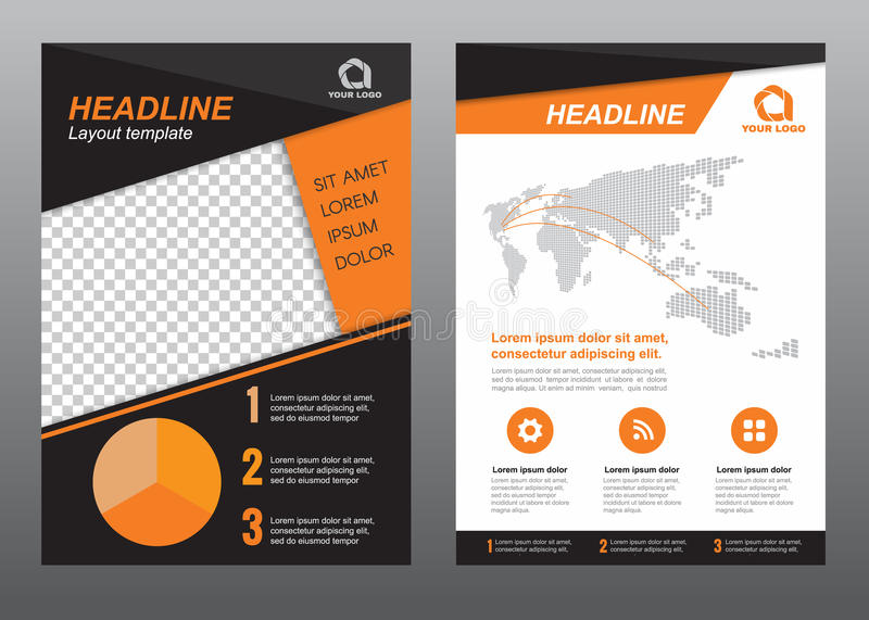 Layout Flyer Template Size A4 Cover Page Orange Black Tone Vector - black flyer template