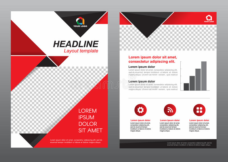 Layout Flyer Template Size A4 Cover Page Red And Black Tone Vector