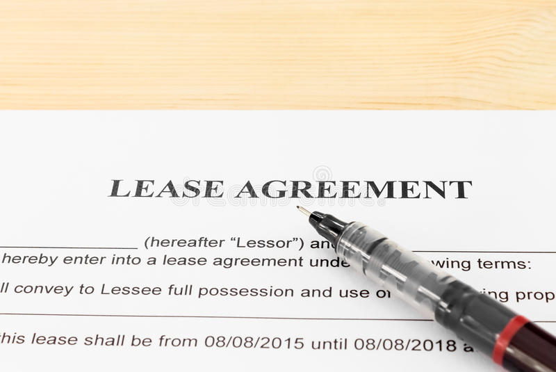 Lease Agreement Contract Document And Pen Horizontal View Stock - Legal Agreement Contract