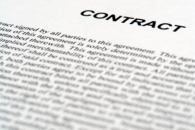 Legal Contract Document In Common Law English Stock Image - Image of - legal contract