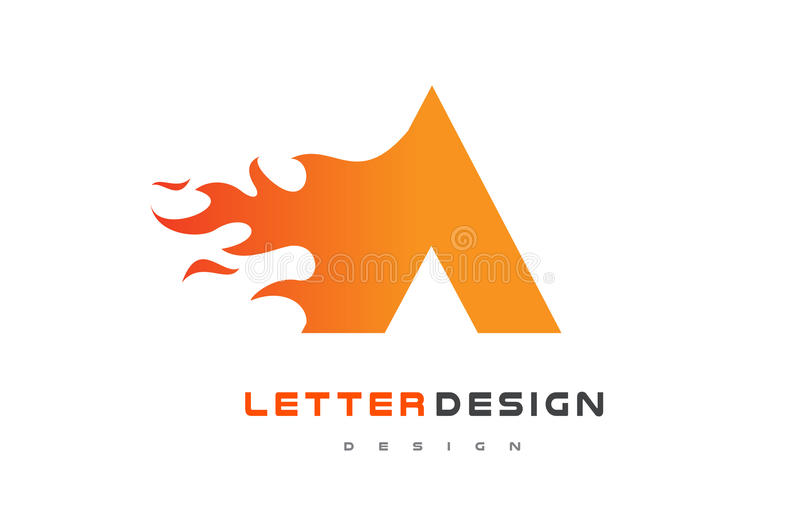 A Letter Flame Logo Design Fire Logo Lettering Concept Stock - flame logo