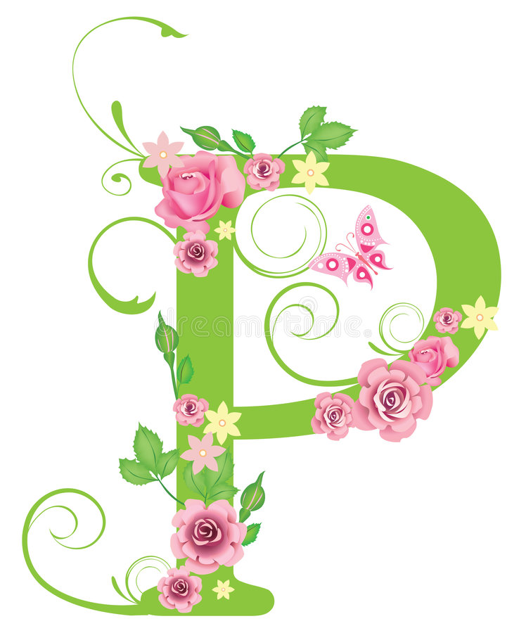 Letter P with roses stock vector Illustration of retro - 7967432