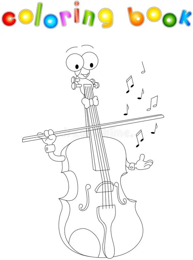Libro Da Colorare Del Violino Del Fumetto Illustrazione