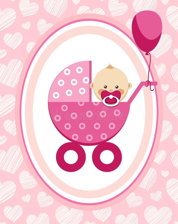 Newborn Baby, Girl, Greeting Card, Pink Hearts, Vector Stock Vector