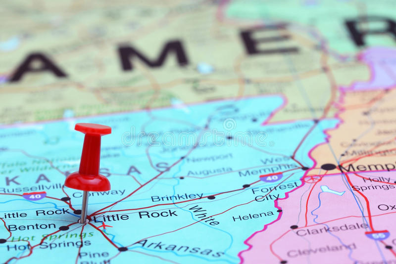 Little Rock Pinned On A Map Of USA Stock Image - Image of