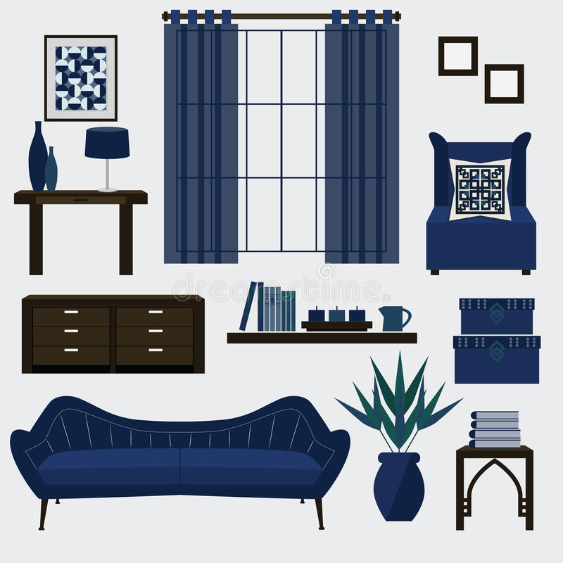 Living Room Furniture And Accessories In Color Navy Blue Stock - free living room furniture