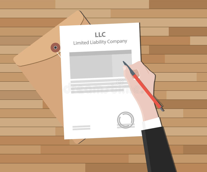 Llc Limited Liability Company With Document And Sign Paper Stock