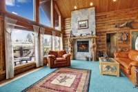 Log cabin living room stock photo. Image of floor, estate ...