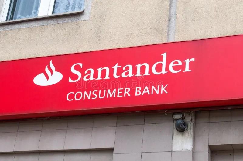 Logo And Sign Of Santander Consumer Bank In Gdansk Editorial Photo