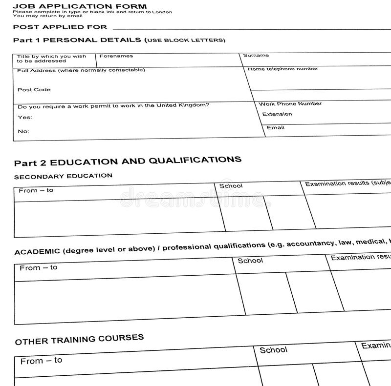 Looking For Job, Resume Blank Form, Isolated, Stock Image - Image of