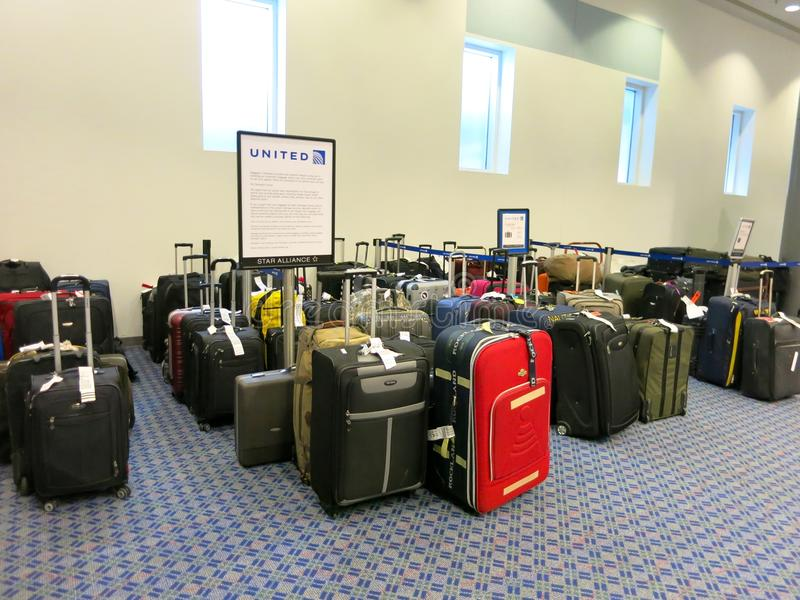 Lost Bags At United Airlines Luggage Counter Editorial Stock Image