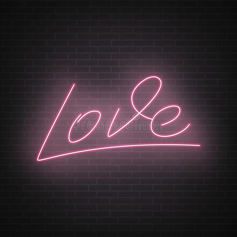 Love Neon Lettering Valentine`s Day Neon Script Lettering Love