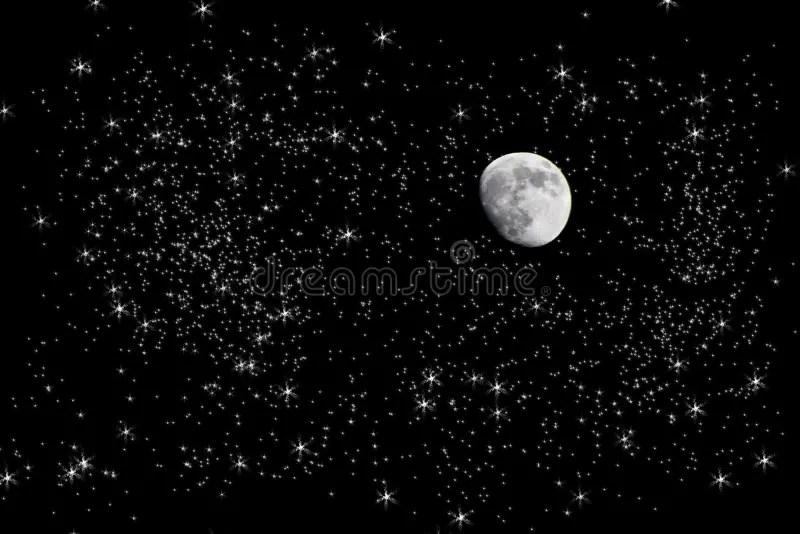 Fall Ceiling Wallpaper Download Luna In Cielo Notturno Stellato Fotografia Stock
