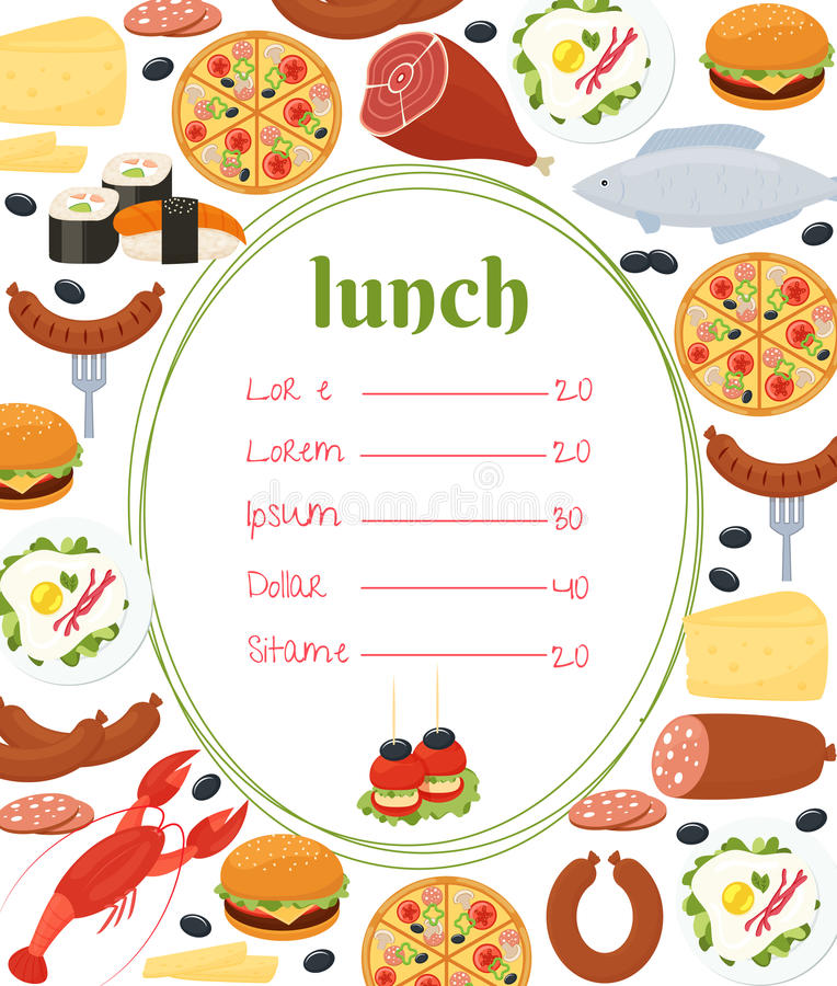 Lunch menu template stock vector Illustration of cuisine - 43191846